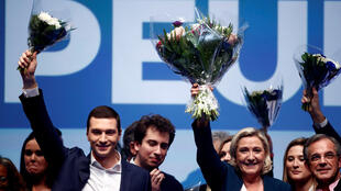 French far-right National Rally (Rassemblement National) party leader Marine Le Pen and Jordan Bardella, the head of the National Rally list for the European elections, attend the launching of their campaign for the European elections in Paris, France.c