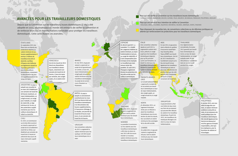 Carte des avancées recensées sur le travail domestique dans le monde, par Human Rights Watch.