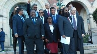 The Mauritian and Chagossian team at The Hague after hearing the recommendations of the International Court of Justice