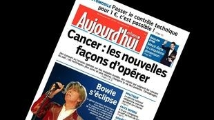 Capa do jornal Aujourd'hui en France desta terça-feira, 12 de janeiro de 2016.