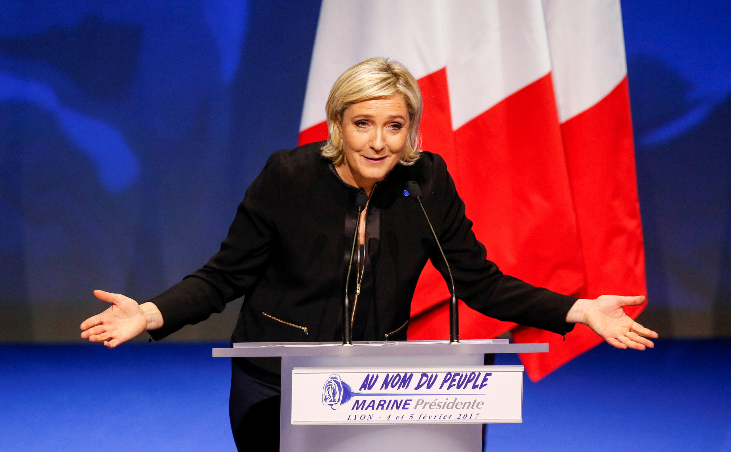 National Front presidential candidate Marine Le Pen launches her presidential campaign in Lyon earlier this month