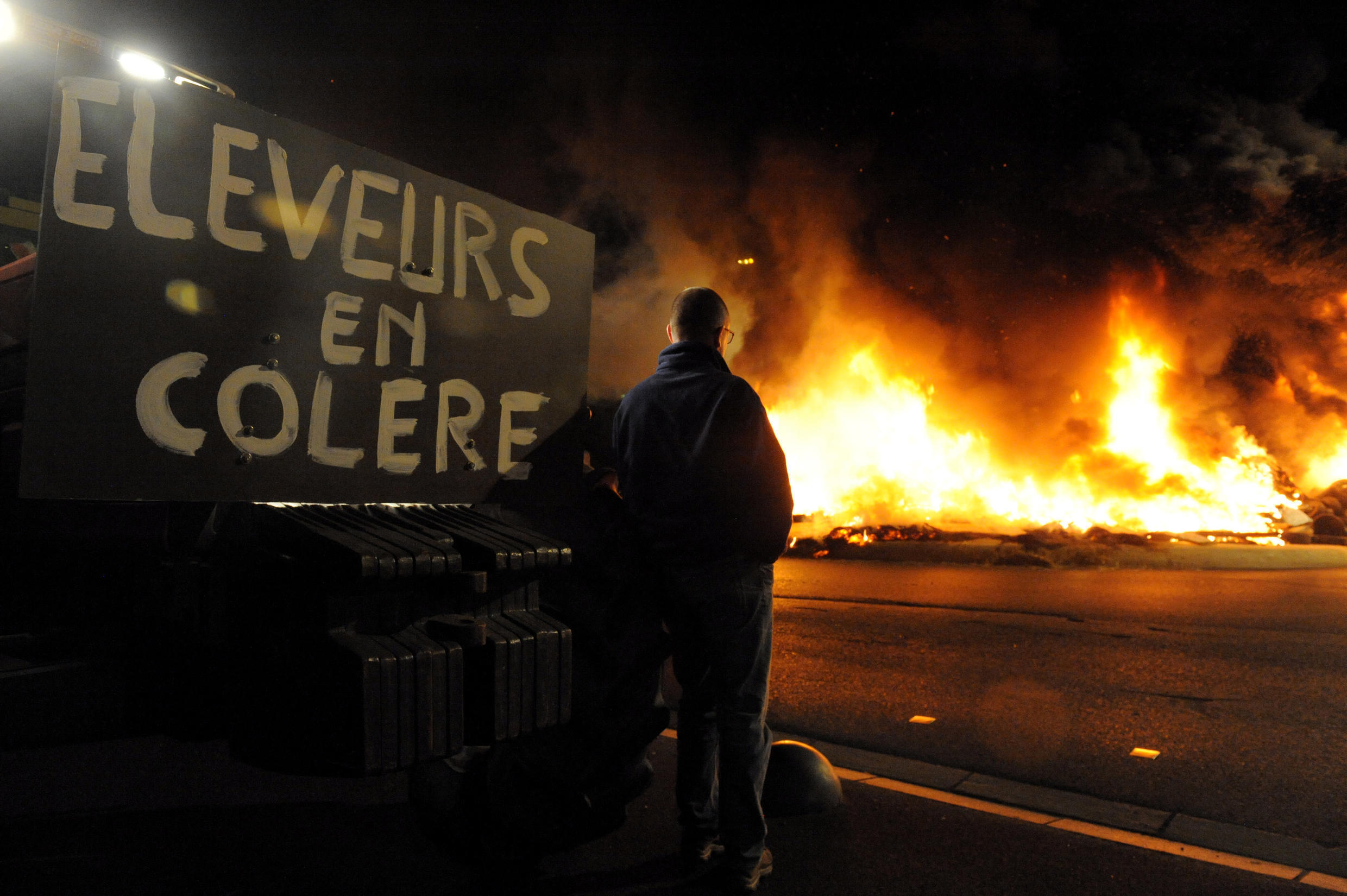 Farmers protest at Saint-Brieuc in Brittany on 2 July 2015