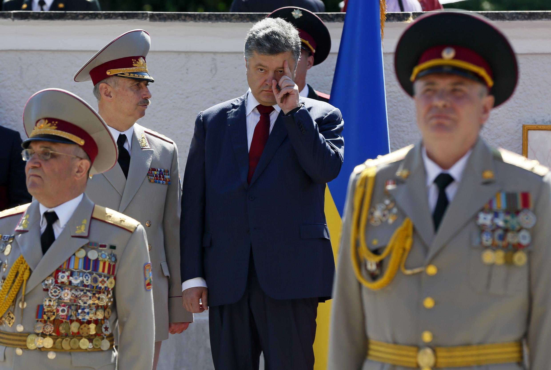 O presidente ucraniano, Petro Poroshenko, durante uma cerimônia de formatura na Universidade Nacional de Defesa da Ucrânia, em Kiev, nesta quarta-feira, 18 de junho de 2014.