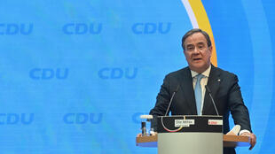 El centrista Armin Laschet durante una rueda de prensa el 20 de abril de 2021 en Berlín, Alemania