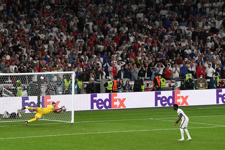 Gianluigi Donnarumma saves Bukayo Saka's penalty in the Euro 2020 final shoot-out