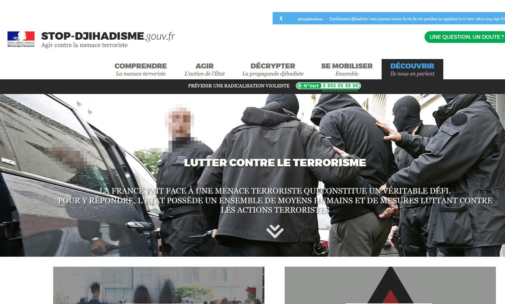 La page d'accueil du site stop-djihadisme.gouv.fr