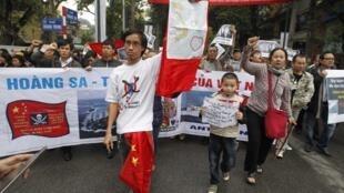 Biểu tình tại Hà Nội, phản đối Trung Quốc gây hấn ở Biển Đông, ngày 09/12/2012