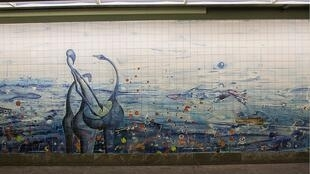 «Orient», une des oeuvres les plus connues d'Abdoulaye Konaté, visible dans le métro de Lisbonne. (Photo originale)
