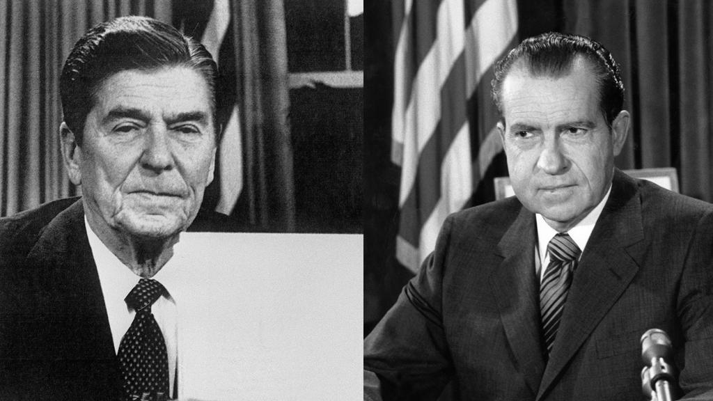 ریچارد نیکسون (راست) و رونالد ریگان (چپ) روسای جمهوری خواه پیشین آمریکا