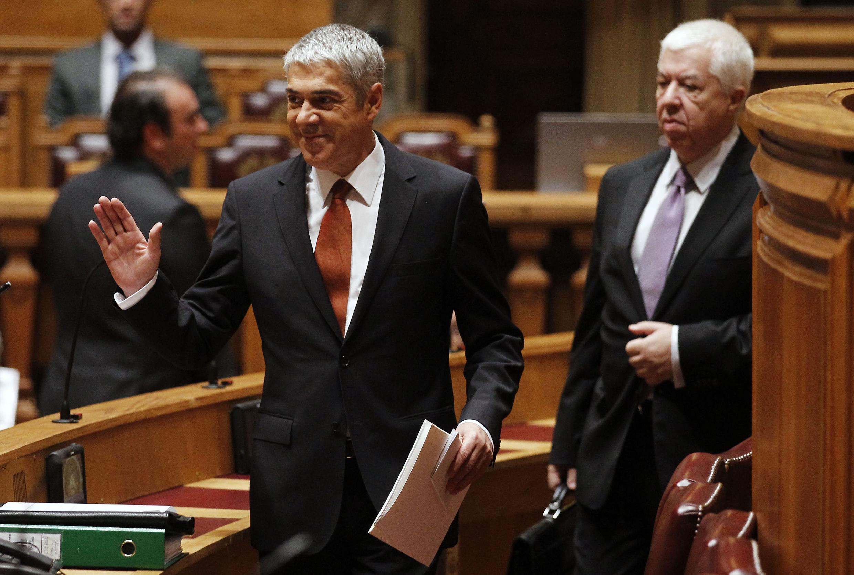 O primeiro-ministro José Sócrates no parlamento português.