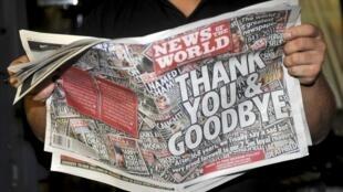"""Última edição do """"falecido"""" jornal de Murdoch, """"The News of The World"""", em foto de 9 de julho de 2011."""