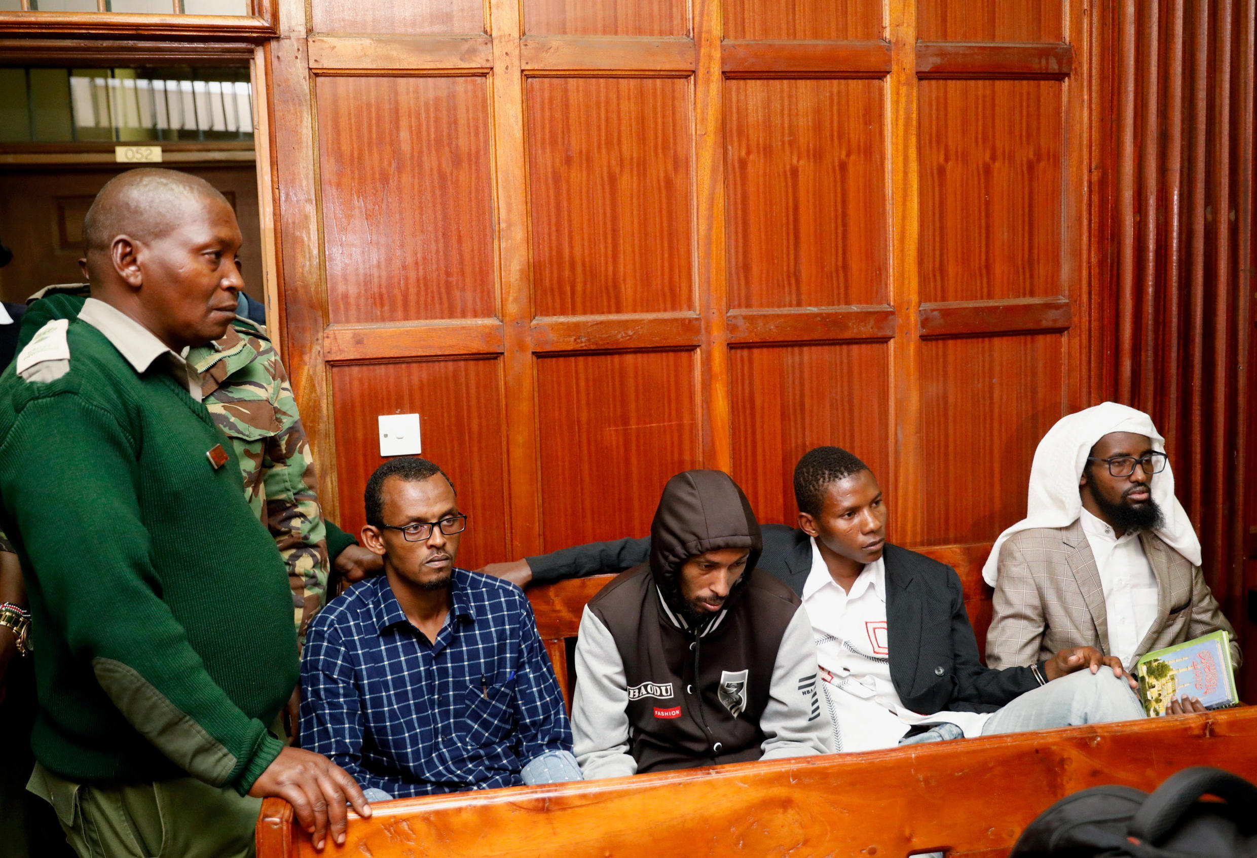 Suspects Hassan Aden Hassan, Mohamed Ali Abdikar, Rashid Charles Mberesero and Sahal Diriye wait to hear their fate after being charged with helping to kill 148 people in an attack on Garissa University in 2015; Nairobi, Kenya