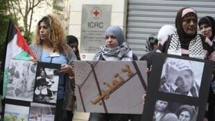 Palestiniennes manifestant à Beyrouth (Liban) contre la torture à l'occasion de la journée de la Femme.