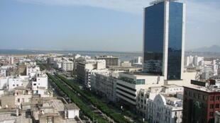 Avenue Bourguiba à Tunis, Tunisie.