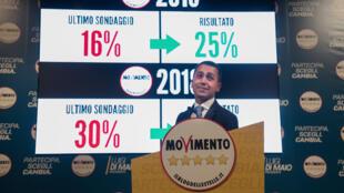 Luigi di Maio, leader du M5S en Italie lors d'un meeting électoral le 22 février 2018 en Italie.