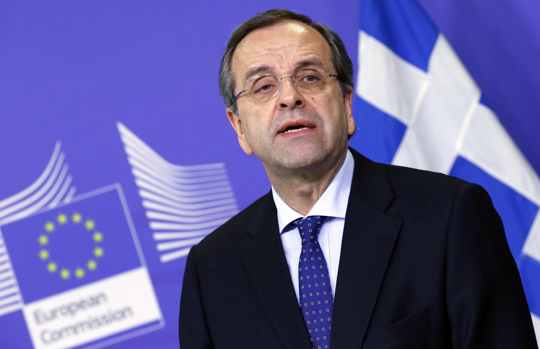 Antonis Samaras, Premier ministre grec, le 4 décembre dernier lors d'une conférence de presse commune avec José Manuel Barroso, le président de la Commission européenne.