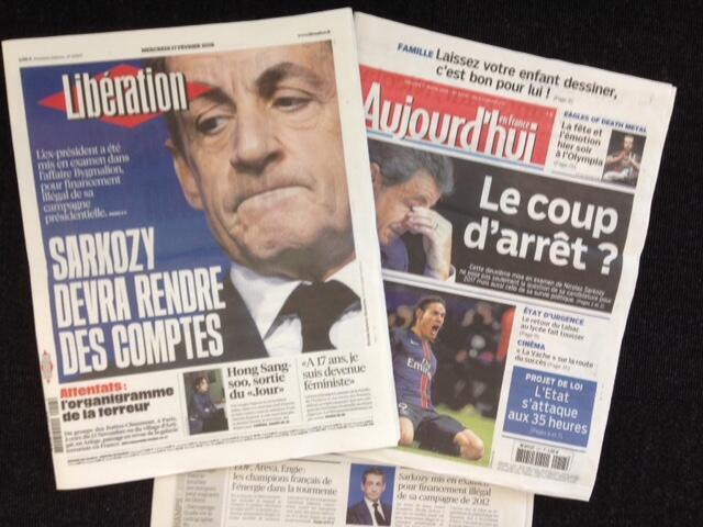 Capas dos jornais franceses desta quarta-feira, 17 de fevereiro de 2016.