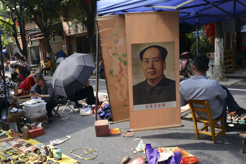 Chân dung Mao Trạch Đông trên đường phố Nam Kinh, Quảng Tây, 17/11/2013