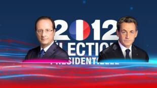 Ứng viên cánh tả François Hollande (T) và ứng viên cánh hữu Nicolas Sarkozy