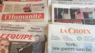 Primeiras páginas dos jornais franceses de 30 de março de 2018