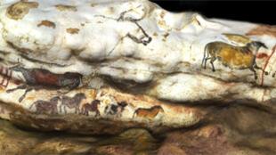 «Panneaux de la vache qui tombe», une paroi de la grotte de Lascaux.