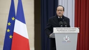 French President Francois Hollande during a ceremony to pay a national homage to the victims of the Paris attacks, 27 November 2015