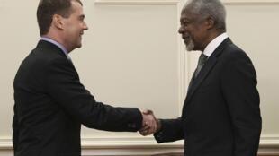 O presidente russo, Dimitri Medvedev, e o enviado especial da ONU, Kofi Annan, se reuniram neste domingo para tratar sobre a Síria.