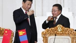 Chủ tịch Trung Quốc (T) và Tổng thống Mông Cổ Tsakhia Elbegdorj (P). Ảnh chụp ngày 21/08/2014, tại Ulan Bator.