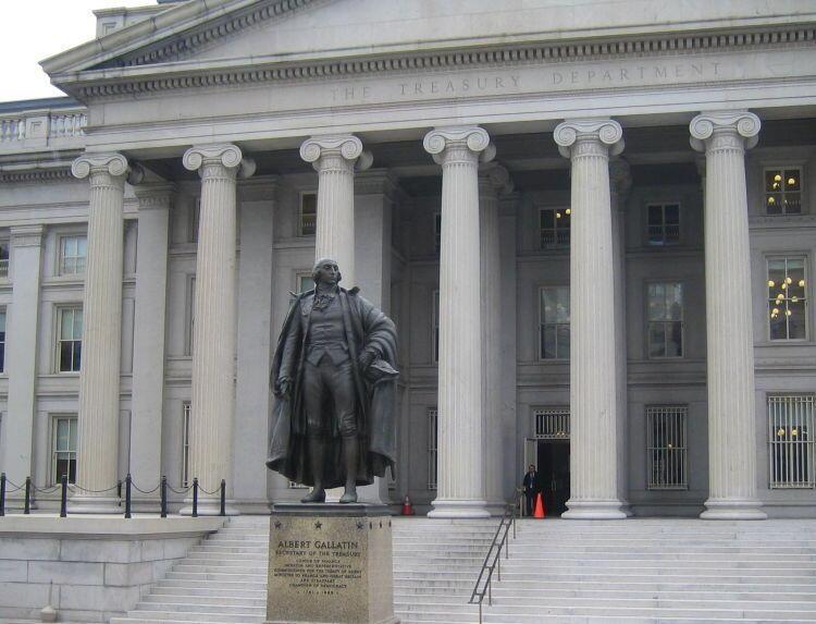 نمای وزارت خزانهداری آمریکا در واشنگتن