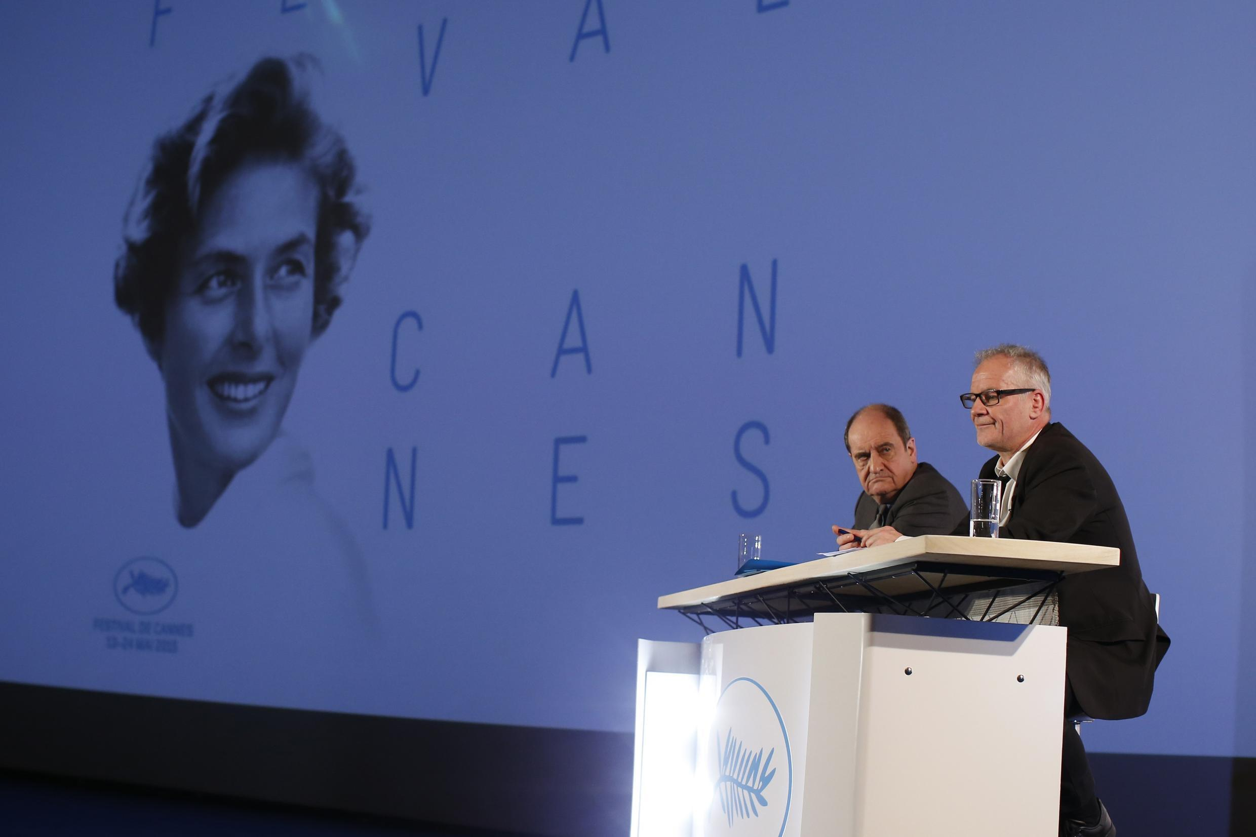 Cannes Film festival general delegate Thierry Fremaux (R) and its president Pierre Lescure (L) announce the competing films at the 68th Cannes Film Festival,  Paris, 16 April 2015.