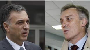 Filip Vujanovic (g), président sortant du Monténégro, et Miodrag Lekic (d), le candidat de l'opposition, ont tous les deux revendiqué la victoire ce dimanche 7 avril.