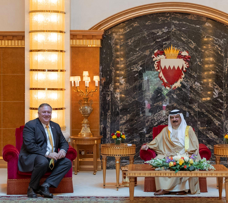 US Secretary of State Mike Pompeo (L) meeting with Bahrain's King Hamad bin Isa Al-Khalifa in the capital Manama