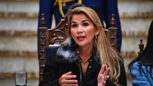 La présidente par intérim de Bolivie Jeanine Añez, lors d'une conférence de presse à La Paz, le 15 novembre 2019.