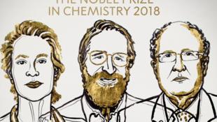 Les trois lauréats du prix de chimie 2018, l'Américaine Frances H. Arnold, son compatriote George P. Smith et le Britannique Gregory P. Winter.