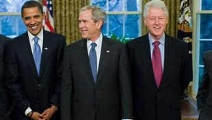 美國前總統奧巴馬、小布什與克林頓資料圖片