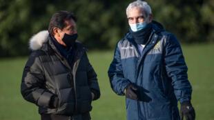 Le président du FC Nantes Waldermar Kita et le nouvel entraîneur de l'équipe Raymond Domenech, le 30 décembre 2020 à La Jonelière