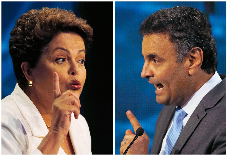 Los candidatos a la presidencia brasileña, Dilma Rousseff y Aécio Neves.