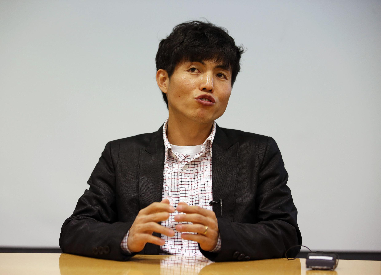 Shin Dong-hyuk, auteur du livre «Rescapé du camp 14», lors d'une interview, le 16 février 2015.