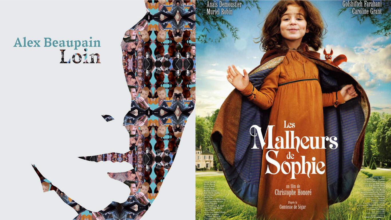 La pochette de «Loin», nouvel album d'Alex Beaupain et l'affiche du film «Les malheurs de Sophie» de Christophe Honoré.