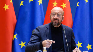 """European Council President Charles Michel insists Europe will not """"paper over our fundamental values, our fundamental freedoms and human rights"""" in its dealings with an increasingly assertive China"""
