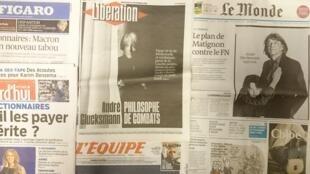 Diários franceses desta quarta-feira 11 de Novembro de 2015.