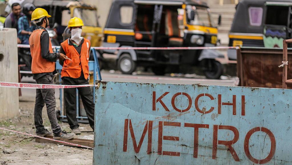 Métro en construction, à Cochin, en Inde. Photo datée de 2015.