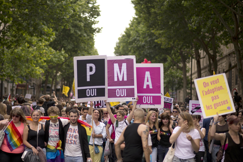 Les gens défilent avec des pancartes «procréation médicale assistée, oui» (PMA) lors de la Gay Pride, le 29 juin 2013 à Paris.