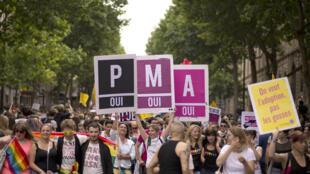 La PMA est autorisée en Belgique depuis 2007. (Sur la photo), les gens défilent avec des pancartes «procréation médicale assistée, oui» (PMA) lors de la Gay Pride, le 29 juin 2013 à Paris.