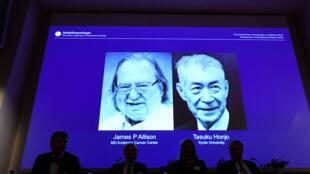 2018年诺贝尔医学奖得主:美国和日本免疫学家詹姆斯 埃里森(左)和本庶佑