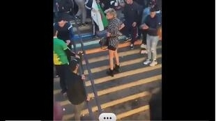 A screen capture of the video of the incident that toopk place on the place de la République in Paris on Sunday