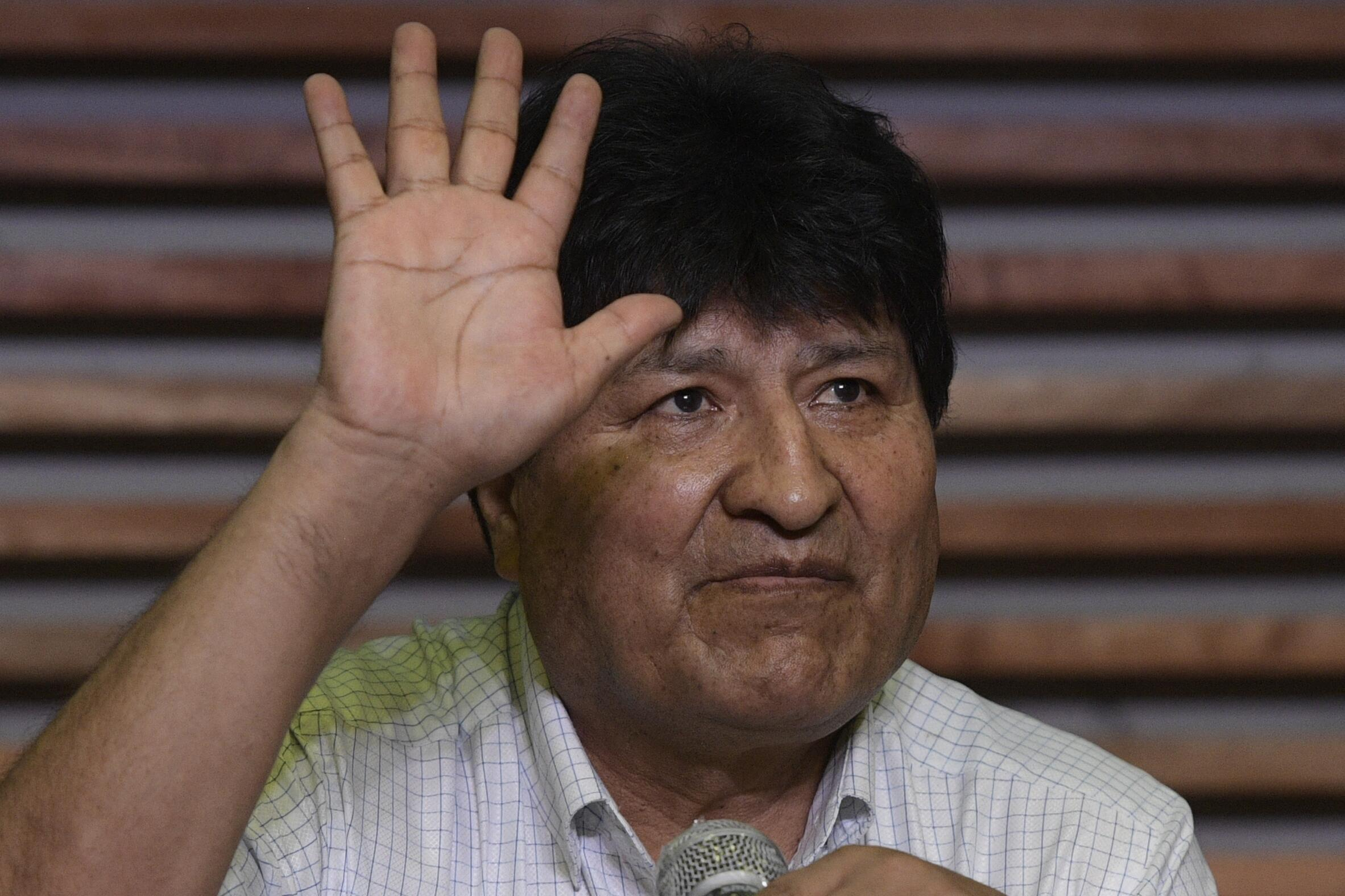 El expresidente boliviano Evo Morales durante una conferencia de prensa en Buenos Aires, el 19 de octubre de 2020