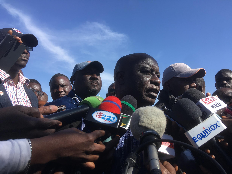 Idrissa Seck, wakati akisoma taarifa katika mkutano na waandishi wa habari baada ya kukutana na Khalifa Sall, Jumatatu, Januari 28, 2019.