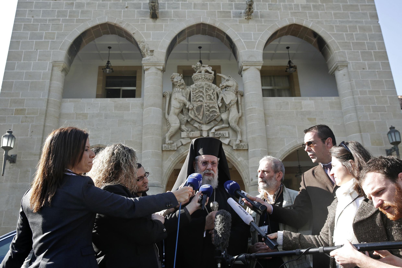 Le puissant chef de l'Eglise orthodoxe chypriote Chrysostomos, le 20 mars à Nicosie.