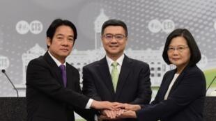 台湾前行政院长赖清德和总统蔡英文资料图片